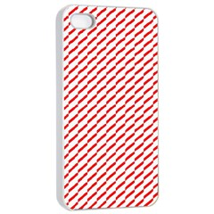 Pattern Red White Background Apple Iphone 4/4s Seamless Case (white) by Simbadda