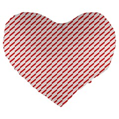 Pattern Red White Background Large 19  Premium Heart Shape Cushions by Simbadda