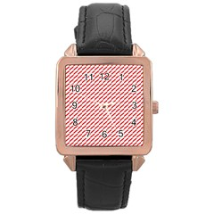 Pattern Red White Background Rose Gold Leather Watch  by Simbadda