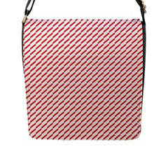 Pattern Red White Background Flap Messenger Bag (l)  by Simbadda