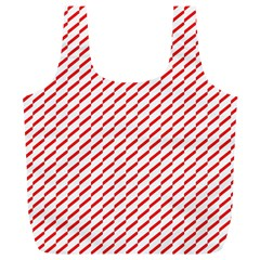 Pattern Red White Background Full Print Recycle Bags (l)  by Simbadda