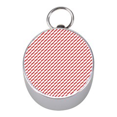 Pattern Red White Background Mini Silver Compasses