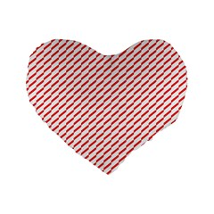 Pattern Red White Background Standard 16  Premium Flano Heart Shape Cushions by Simbadda
