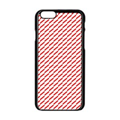 Pattern Red White Background Apple Iphone 6/6s Black Enamel Case by Simbadda