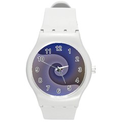 Logo Wave Design Abstract Round Plastic Sport Watch (m) by Simbadda