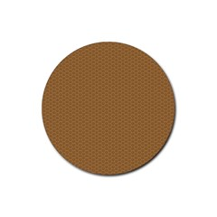 Pattern Honeycomb Pattern Brown Rubber Round Coaster (4 Pack)  by Simbadda