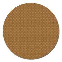 Pattern Honeycomb Pattern Brown Magnet 5  (round) by Simbadda
