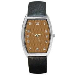 Pattern Honeycomb Pattern Brown Barrel Style Metal Watch by Simbadda