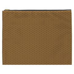 Pattern Honeycomb Pattern Brown Cosmetic Bag (xxxl)  by Simbadda