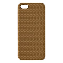 Pattern Honeycomb Pattern Brown Apple Iphone 5 Premium Hardshell Case by Simbadda