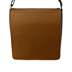 Pattern Honeycomb Pattern Brown Flap Messenger Bag (l)  by Simbadda