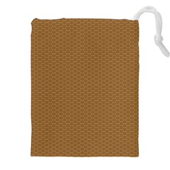 Pattern Honeycomb Pattern Brown Drawstring Pouches (xxl)