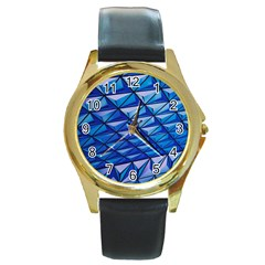 Lines Geometry Architecture Texture Round Gold Metal Watch by Simbadda