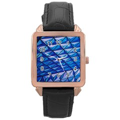 Lines Geometry Architecture Texture Rose Gold Leather Watch  by Simbadda