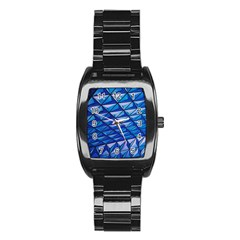 Lines Geometry Architecture Texture Stainless Steel Barrel Watch by Simbadda
