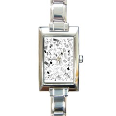 Furniture Black Decor Pattern Rectangle Italian Charm Watch by Simbadda