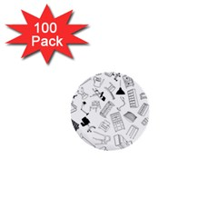 Furniture Black Decor Pattern 1  Mini Buttons (100 Pack)  by Simbadda