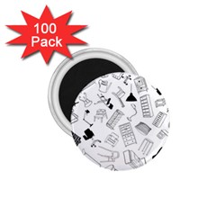 Furniture Black Decor Pattern 1 75  Magnets (100 Pack)