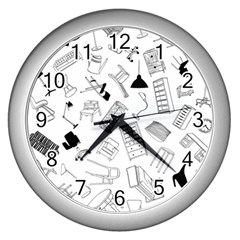 Furniture Black Decor Pattern Wall Clocks (silver)  by Simbadda
