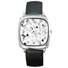 Furniture Black Decor Pattern Square Metal Watch by Simbadda