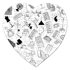 Furniture Black Decor Pattern Jigsaw Puzzle (heart) by Simbadda