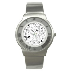 Furniture Black Decor Pattern Stainless Steel Watch by Simbadda