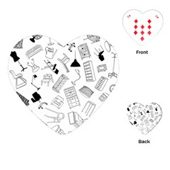 Furniture Black Decor Pattern Playing Cards (heart)  by Simbadda