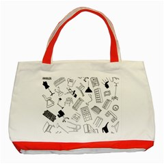 Furniture Black Decor Pattern Classic Tote Bag (red) by Simbadda