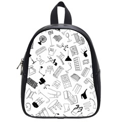 Furniture Black Decor Pattern School Bags (small)  by Simbadda