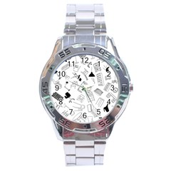 Furniture Black Decor Pattern Stainless Steel Analogue Watch by Simbadda