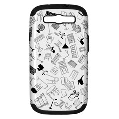 Furniture Black Decor Pattern Samsung Galaxy S Iii Hardshell Case (pc+silicone) by Simbadda
