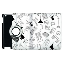 Furniture Black Decor Pattern Apple Ipad 3/4 Flip 360 Case by Simbadda