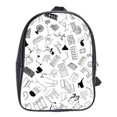 Furniture Black Decor Pattern School Bags (xl)  by Simbadda