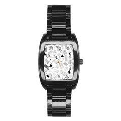 Furniture Black Decor Pattern Stainless Steel Barrel Watch by Simbadda