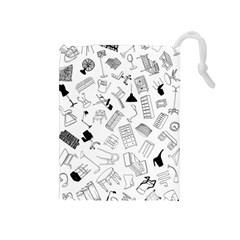 Furniture Black Decor Pattern Drawstring Pouches (medium)  by Simbadda