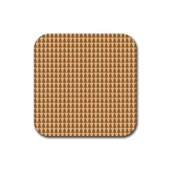 Pattern Gingerbread Brown Rubber Coaster (square)  by Simbadda