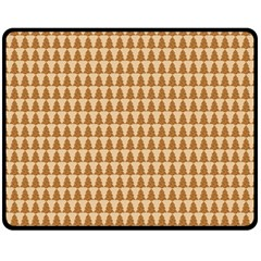 Pattern Gingerbread Brown Fleece Blanket (medium)  by Simbadda