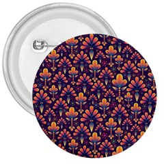 Abstract Background Floral Pattern 3  Buttons by Simbadda