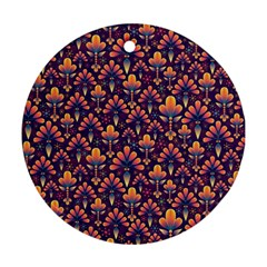 Abstract Background Floral Pattern Round Ornament (two Sides) by Simbadda