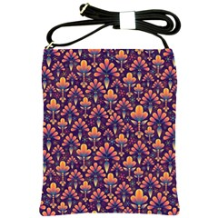 Abstract Background Floral Pattern Shoulder Sling Bags