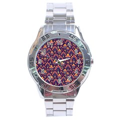 Abstract Background Floral Pattern Stainless Steel Analogue Watch by Simbadda