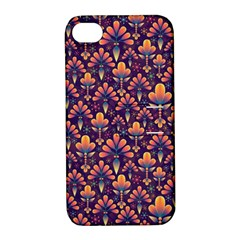 Abstract Background Floral Pattern Apple Iphone 4/4s Hardshell Case With Stand by Simbadda