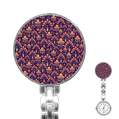 Abstract Background Floral Pattern Stainless Steel Nurses Watch by Simbadda