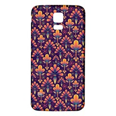 Abstract Background Floral Pattern Samsung Galaxy S5 Back Case (white) by Simbadda