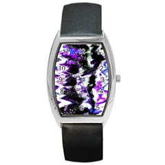 Canvas Acrylic Digital Design Barrel Style Metal Watch by Simbadda