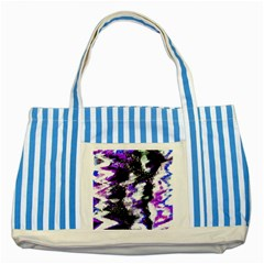 Canvas Acrylic Digital Design Striped Blue Tote Bag by Simbadda