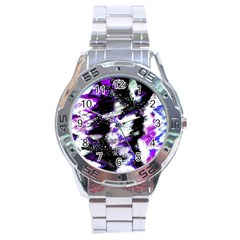 Canvas Acrylic Digital Design Stainless Steel Analogue Watch