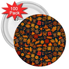 Pattern Background Ethnic Tribal 3  Buttons (100 Pack)  by Simbadda
