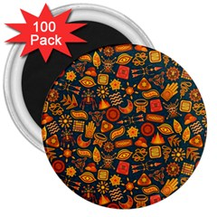 Pattern Background Ethnic Tribal 3  Magnets (100 Pack) by Simbadda