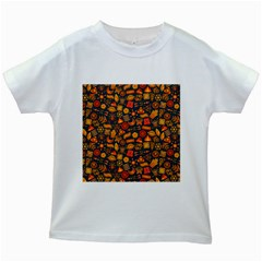 Pattern Background Ethnic Tribal Kids White T Shirts by Simbadda